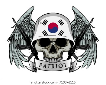 Military skull or patriot skull with SOUTH KOREA flag Helmet and Wings Background and ak47 Gun