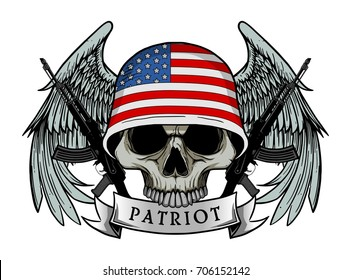 Military skull or patriot skull with USA flag Helmet and Wings Background and ak47 Gun