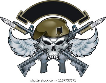Military Skull with Wings and assault rifles with bayonets
