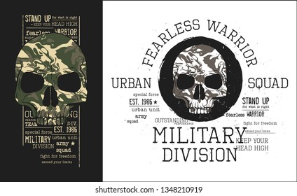 military skulls with camouflage.Two illustrations pack for t-shirt.