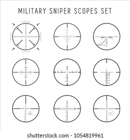 Military sniper scopes set. Hunting crosshair symbols collection. Vector illustration.