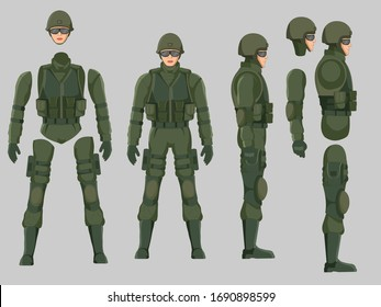 Military soldier character model chart ready to animate