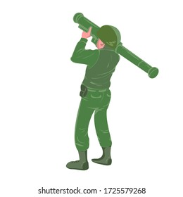 Military soldier holding and aiming rocket launcher . War zone battle sign or symbol. Heavy weapon. Ballistic missile explosion.