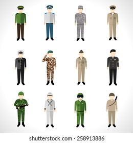 Military soldier in uniform avatar character set isolated vector illustration