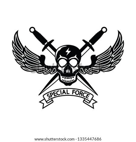 Military Special Force Logo Black White Stock Vector (Royalty Free