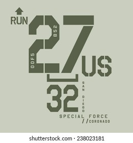 Military sport typography, t-shirt graphics, vectors