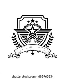 military star logo emblem vector icon