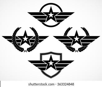 military star symbol variation set / silhouette illustration