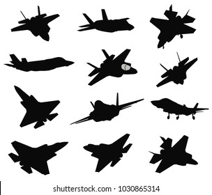 Military stealth aircraft silhouettes collection. Vector