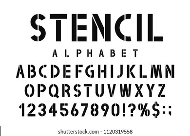 Military stencil font. Stencil alphabet with numbers in retro army style. Vintage and urban font for stencil-plate. Vector