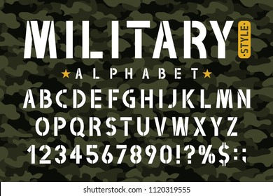 Military stencil font on camouflage background. Stencil alphabet with numbers in retro army style. Vintage masculine font for stencil-plate. Vector