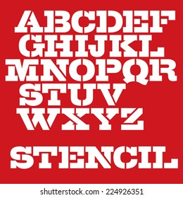 Military stencil typeface. Vector font