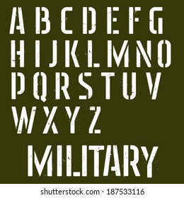 Military stencil vector font. Sprayed type