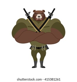 Military strong bear. Powerful big monster soldiers. Beast Troopers accessories: exploding grenades and machine-gun belts. Automatic pistol. soldier defender