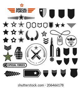 military style set symbolics and badge for army