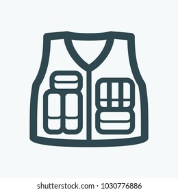 Military style tactical vest vector icon