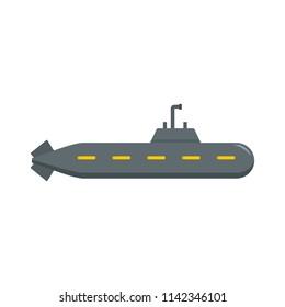 Military submarine icon. Flat illustration of military submarine vector icon for web isolated on white