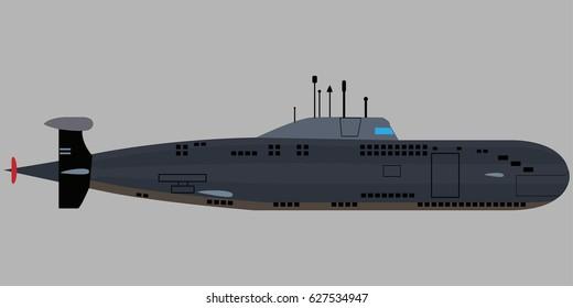 Military submarine icon. Flat illustration of submarine vector icon for web design