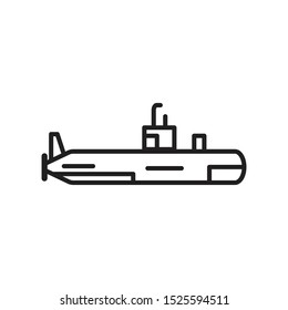 Military Submarine Icon in Outline Style Isolated