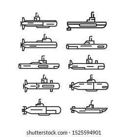 Military Submarine Icon set in Outline Style Isolated