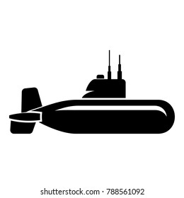 Military submarine icon. Simple illustration of military submarine vector icon for web.