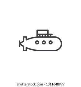 Military submarine line icon. linear style sign for mobile concept and web design. Submarine ship outline vector icon. Underwater boat symbol, logo illustration. Pixel perfect vector graphics