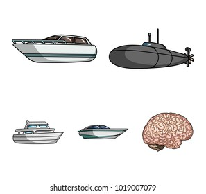 A military submarine, a speedboat, a pleasure boat and a spirit boat.Ships and water transport set collection icons in cartoon style vector symbol stock illustration web.