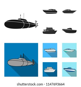 A military submarine, a speedboat, a pleasure boat and a spirit boat.Ships and water transport set collection icons in black, flat style vector symbol stock illustration web.