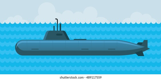 Military Submarine under Water, Navy, Patrol, Flat Design Objects