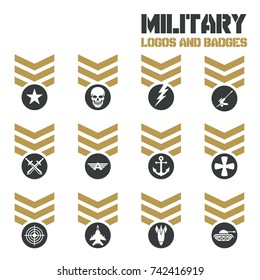 Military symbol icons set. Fist and sword, eagle and skull, cross arrow, rocket and anchor. Vector Logos and Icon Collection Template