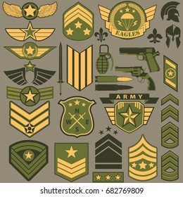 Military symbol set, Army Patches, armed warrior badge typography, t-shirt graphics. vector