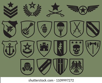 military symbols icons set (army emblems, coat of arms collection)