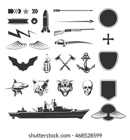 Military symbols mega set. Army military, shield weapon, ship destroyer. Vector illustration