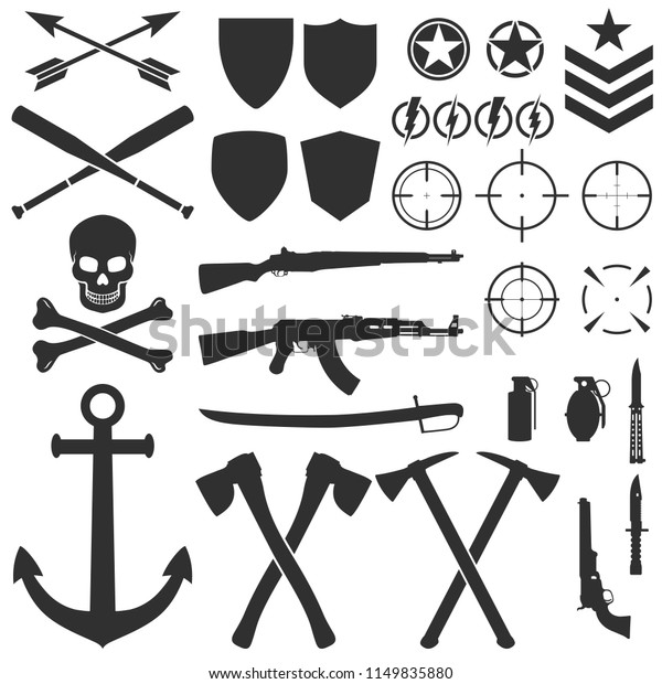 Military Symbols Signs Silhouettes Black Contours Stock