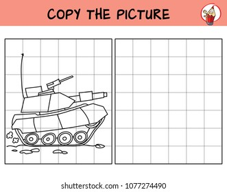 Military tank. Copy the picture. Coloring book. Educational game for children. Cartoon vector illustration