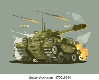 Military tank in fire