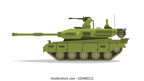 Military tank. Heavy Equipment. Armored Corps. A lot of iron. Cannon, optical review, gun, shells. Tracked vehicles. Equipment for the war. The attack on the enemy. Vector illustration.