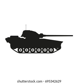 Military tank sign illustration. Vector. Black icon on white background.