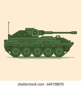 Military tank vector line illustration