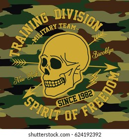 Military team, New york training division, camouflage design typography, t-shirt graphics, vectors