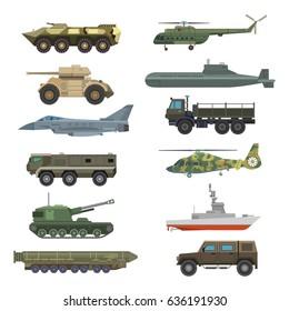Military technic transport equipment armor flat vector illustration isolated on white background