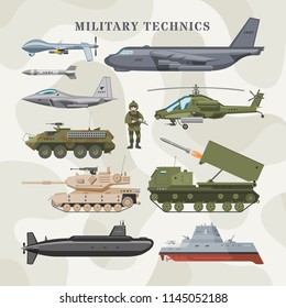 Military technics vector army transport plane and armored tank or helicopter illustration technical set of armored aviation and armoured submarine isolated on camouflage background