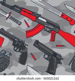 Military and Terrorist Weapon Equipment Seamless Pattern. Background Wallpaper