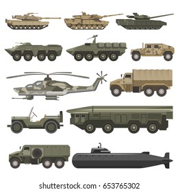 Military transport and army wartime machines vector isolated icons set
