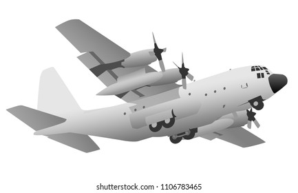 Military Transport Cargo Aircraft Vector Illustration