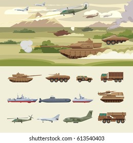 Military transport concept with tanks ground machines ships submarine airplanes helicopters truck anti aircraft protection vehicles vector illustration