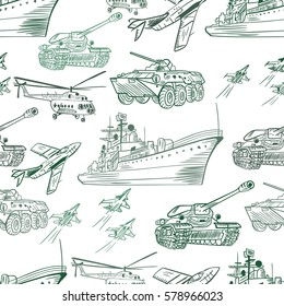Military Transport Pattern   Seamless vector army texture with vehicle sketch icons on white background
