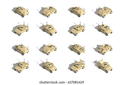 Military Transportation isometric vector. light utility vehicles with machine gun.