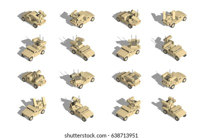 Military Transportation isometric vector. light utility vehicles with anti air turret.