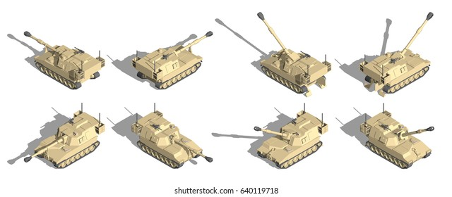 Military Transportation isometric vector. self propelled howitzer vehicle.